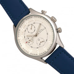 Elevon Lindbergh Leather-Band Watch w/Day/Date -Blue/White