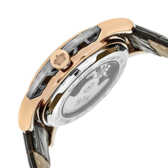 Reign Stavros Automatic Skeleton Leather-Band Watch - Rose Gold/White