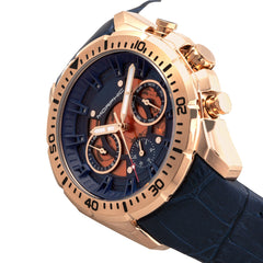 Morphic M66 Series Skeleton Dial Leather-Band Watch w/ Day/Date - Rose Gold/Blue