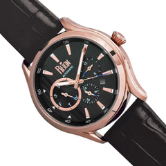 Reign Gustaf Automatic Leather-Band Watch - Black/Rose Gold