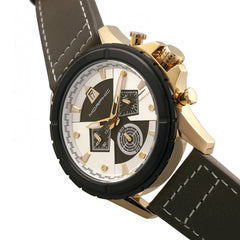 Morphic M57 Series Chronograph Leather-Band Watch - Gold/Olive