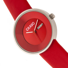 Crayo Button Leather-Band Unisex Watch w/ Day/Date - Red