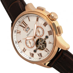 Heritor Automatic Hudson Semi-Skeleton Leather-Band Watch w/Day/Date - Brown/Rose Gold
