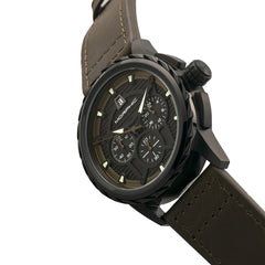 Morphic M61 Series Chronograph Leather-Band Watch w/Date - Black/Olive