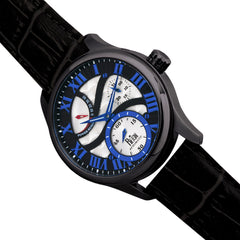 Reign Bhutan Leather-Band Automatic Watch - Black