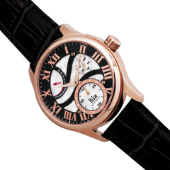 Reign Bhutan Leather-Band Automatic Watch - Rose Gold/Black