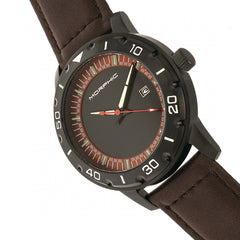 Morphic M71 Series Leather-Band Watch w/Date - Black/Dark Brown