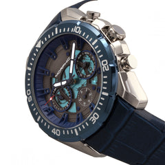 Morphic M66 Series Skeleton Dial Leather-Band Watch w/ Day/Date - Silver/Blue