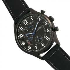 Elevon Lindbergh Leather-Band Watch w/Day/Date -Black