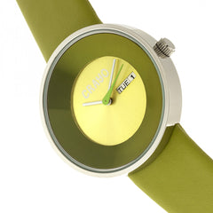 Crayo Button Leather-Band Unisex Watch w/ Day/Date - Green
