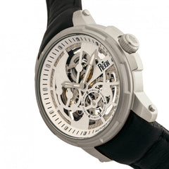 Reign Matheson Automatic Skeleton Dial Leather-Band Watch - Black/White