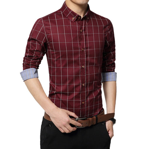 CYSINCOS Fashion Brand Men Clothes 2019 Slim  Men Autumn Long Sleeve Shirts Plaid Cotton Casual Men Shirt Social Plus Size 5XL
