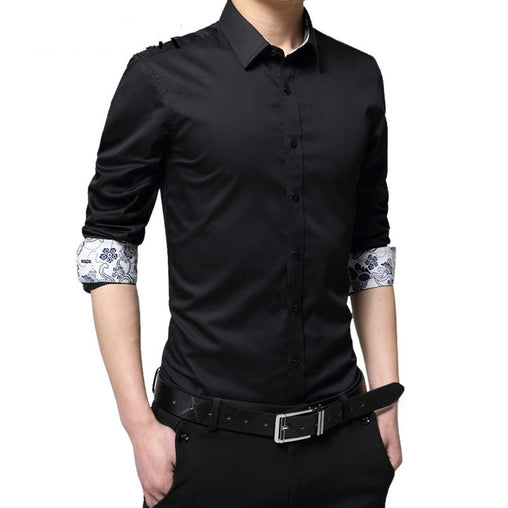 CYSINCOS Mens Shirt Brand 2019 Male High Quality Long Sleeve Shirts Casual Hit Color Slim  Black Men Dress Shirts Plus Size 5XL