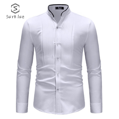 Concise Contrast Color Edging Collar Shirt Men's Casual Pleated Long-sleeved Shirt 2018 New Hot Fashion  Long-sleeved Shir