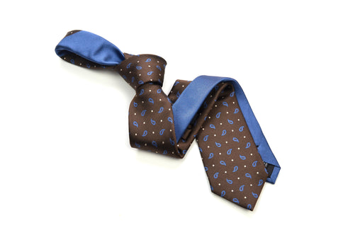 Ocean Boulevard Brown & Blue Silk Paisley Tie
