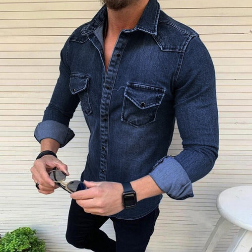 Denim Shirt Men Cotton Jeans Shirt Fashion Autumn Casual Slim Fit Long Sleeve Shirts Cowboy Shirt Stylish Tops Asian Size 3XL