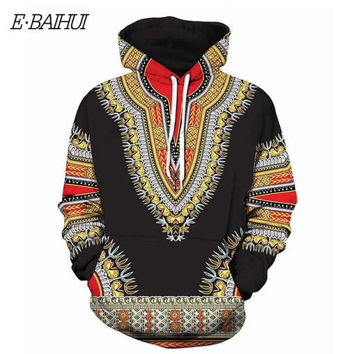 E-BAIHUI Autumn fashion print Hoodies for Men African clothing Blouse Hoodie Sweatshirt Top Outwear Streetwear Hoodie Male DW25