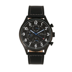 Elevon Lindbergh Leather-Band Watch w/Day/Date -  Black