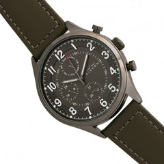 Elevon Lindbergh Leather-Band Watch w/Day/Date -  Olive/Grey