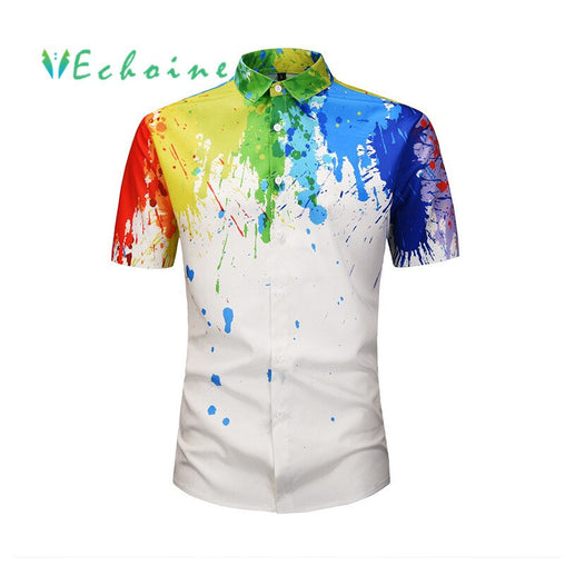 Echoine short sleeve printing mens shirts turn down collar mans blouse summer regular length colorful upper clothing