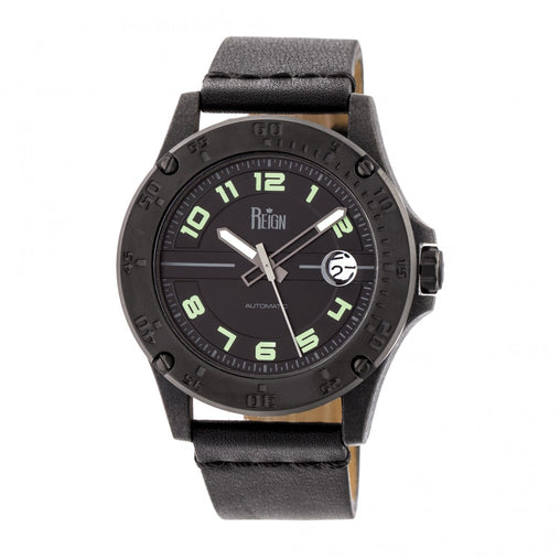 Reign Emery Automatic Leather-Band Watch w/Magnified Date