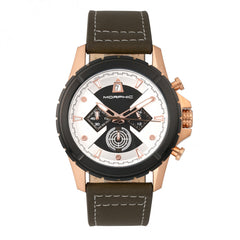Morphic M57 Series Chronograph Leather-Band Watch - Rose Gold/Olive