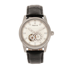 Heritor Automatic Davidson Semi-Skeleton Leather-Band Watch - Silver