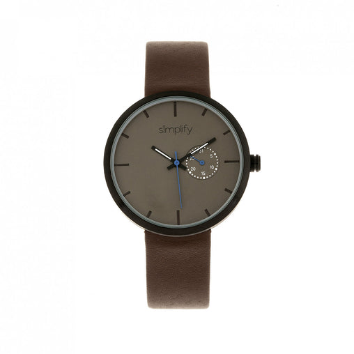 Simplify The 3900 Leather-Band Watch w/ Date