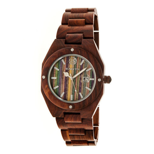 Earth Wood Cypress Skateboard-Dial Bracelet Watch w/Magnified Date