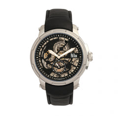 Reign Matheson Automatic Skeleton Dial Leather-Band Watch - Black