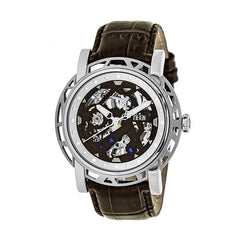 Reign Stavros Automatic Skeleton Leather-Band Watch - Silver/Dark Brown
