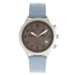 Elevon Antoine Chronograph Leather-Band Watch w/Date - Light Blue/Charcoal