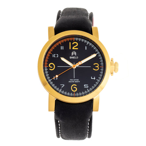 Shield Berge Leather-Band Men's Diver Watch