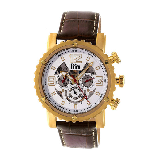 Reign Alpin Automatic Leather-Band Watch