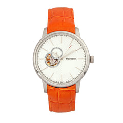 Heritor Automatic Landon Semi-Skeleton Leather-Band Watch - Silver/Orange