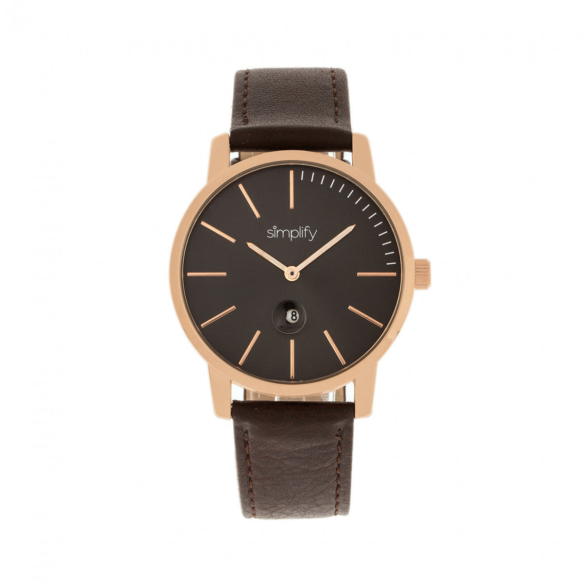 Simplify The 4700 Leather-Band Watch w/Date