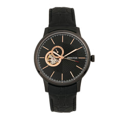 Heritor Automatic Landon Semi-Skeleton Leather-Band Watch - Black