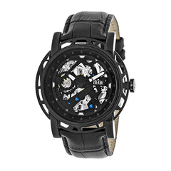 Reign Stavros Automatic Skeleton Leather-Band Watch - Black
