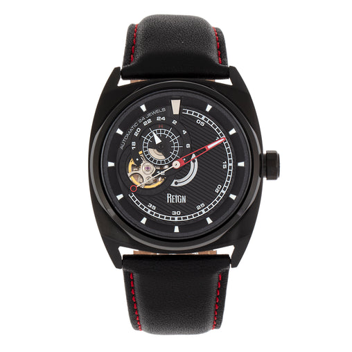 Reign Astro Semi-Skeleton Leather-Band Watch