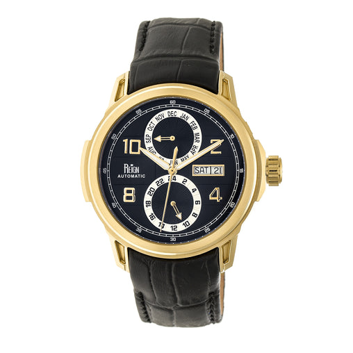 Reign Cascade Automatic Leather-Band Watch w/Day/Date