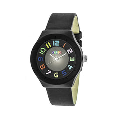 Crayo Atomic Leather-Band Watch - Black
