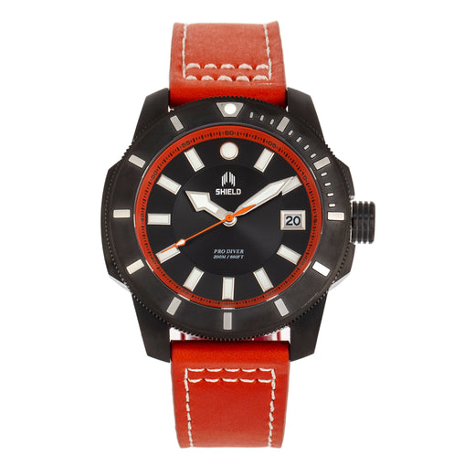Shield Shaw Leather-Band Men's Diver Watch w/Date