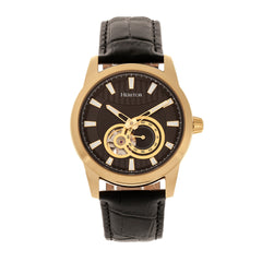 Heritor Automatic Davidson Semi-Skeleton Leather-Band Watch - Gold/Black