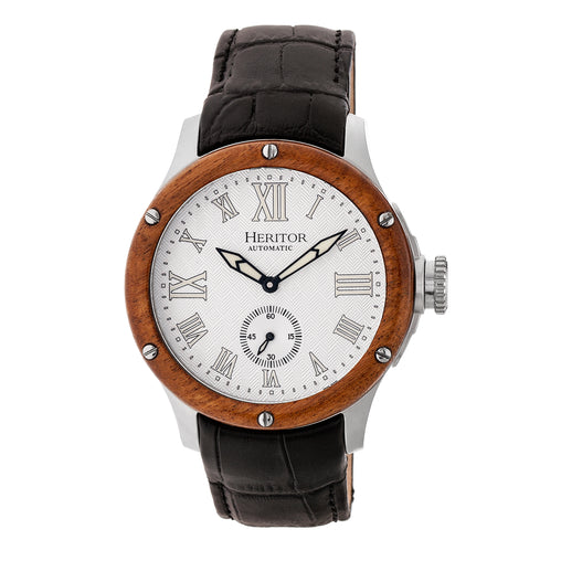 Heritor Automatic Montrichard Wood Bezel Leather-Band Watch