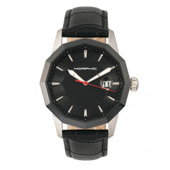 Morphic M56 Series Leather-Band Watch w/Date - Silver/Black