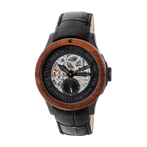 Heritor Automatic Belmont Wood Bezel Skeleton Leather-Band Watch