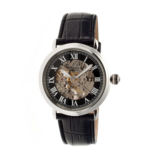 Heritor Automatic Ossibus Skeleton Leather-Band Watch