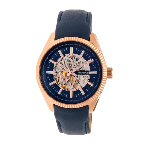 Heritor Automatic Desmond Skeleton Dial Leather-Band Watch