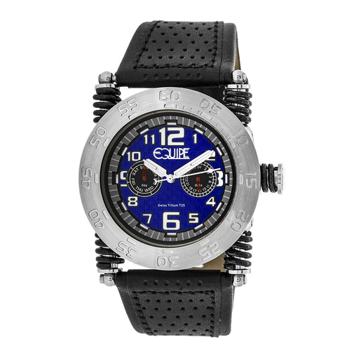 Equipe Tritium Coil Mens Leather-Band Watch w/ Day/Date