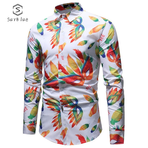 Fashion Trend Printing Men's Shirt Casual Large Size Autumn And Winter Base Long Sleeve Shirt 2018 New Long-sleeved Shirt